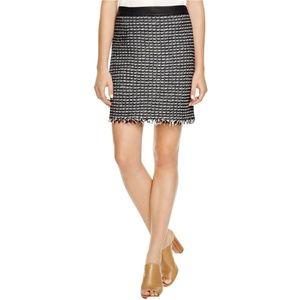 Tory Burch Womens Raffia A-Line Skirt Tweed Fringe